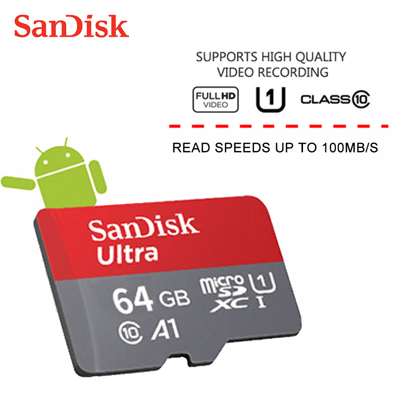 Sandisk микро SD карты 256 г 200 ГБ 128 Гб 64 Гб 100 МБ/с. слот для карт памяти SD/TF флеш-карта Class10 32 Гб оперативной памяти, 16 Гб встроенной памяти microSD для пл...
