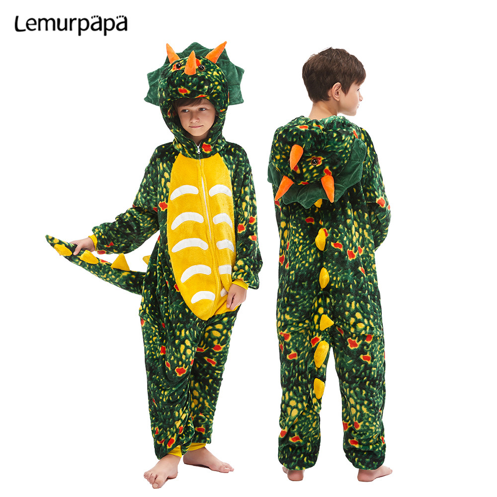Children Kigurumis Homewear  Onesies Kids Cartoon Cute Dinosaur Sleepwear Pajama Suit Girl Boy Party Child Cosplay Jumpsuit
