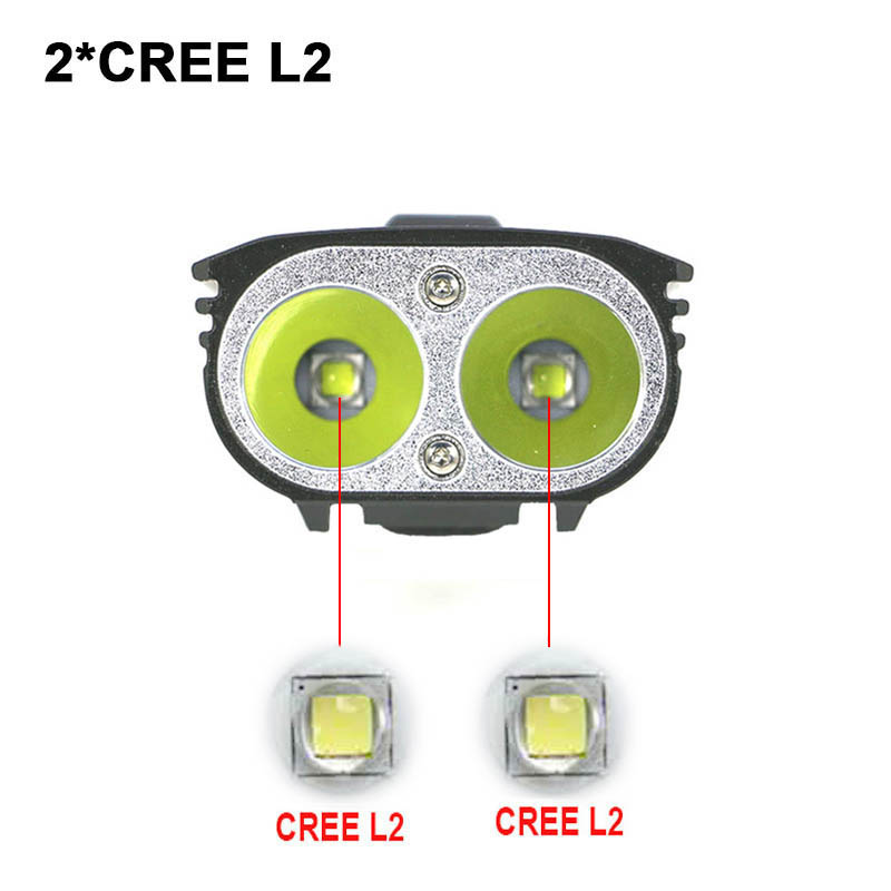 USB 6800mAh Bike Light High Bright Bicycle Light 2* XML-L2 LED With Battery Cycling Front Lights Tail Lamp Optional
