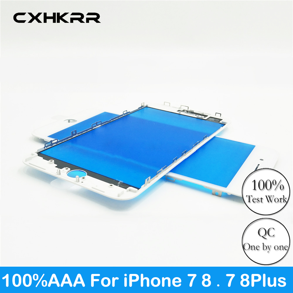 100% AAA New Touch Panel  For IPhone 7 8G 7 Plus 8Plus Front Outer Screen Glass Lens With Frame Bezel Repair Parts