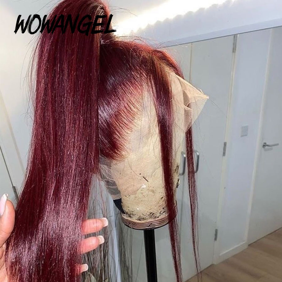Pre Plucked Burgundy Colored Full Lace Human Hair Wigs Pre Plucked Bleached Knots Wigs Straight Glueless Full Lace Wigs