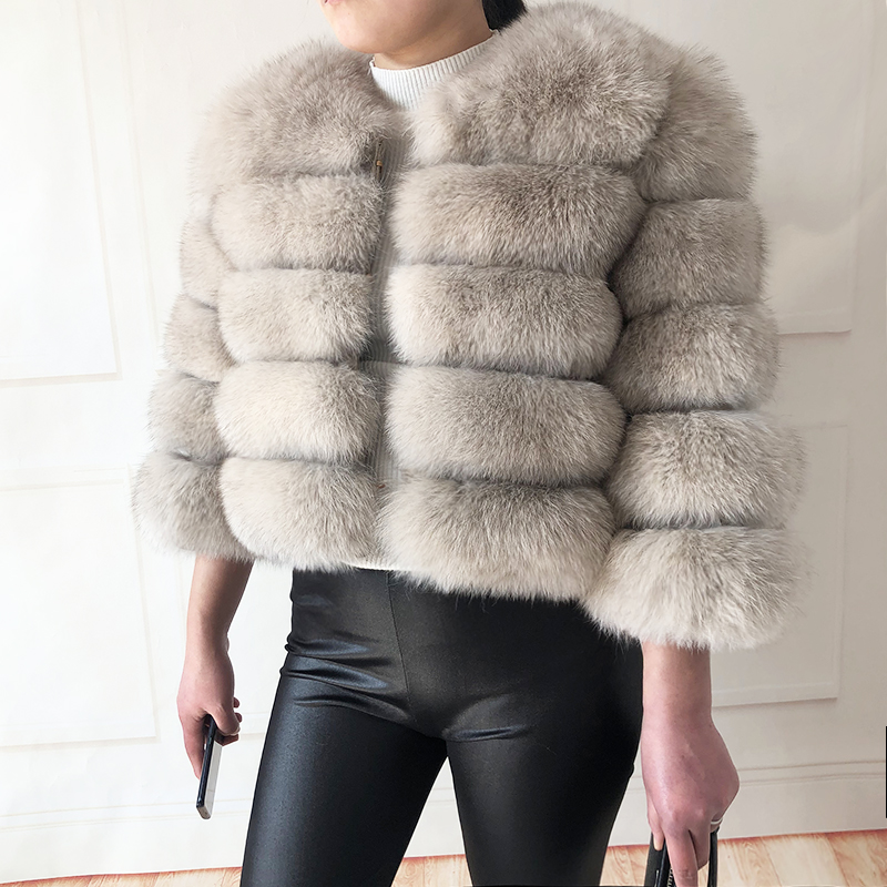 2019 new style real fur coat 100% natural fur jacket female winter warm leather fox fur coat high quality fur vest Free shipping 145