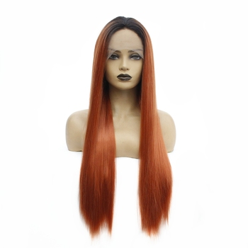 Synthetic Lace Front Wig Long Straight Middle Part Ombre Auburn Women's Wigs with Baby Hair Heat Resistant African American Wig wignee hand made front ombre color long blonde synthetic wigs for black white women heat resistant middle part cosplay hair wig