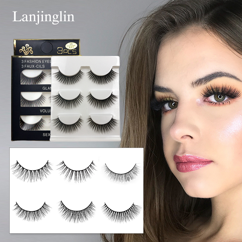 LANJINGLIN 3 Pairs Mink Eyelashes Natural Fake Eye Lashes Make Up Handmade 3d Mink Lashes False Lash Volume Eyelash Extension