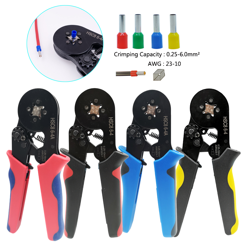 Tube terminal crimping tools mini electrical pliers cable crimping pliers set Suitable for Tubular terminals 0.25-6mm² AWG23-10(China)
