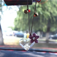 цена на Car Pendant Glass Perfume Empty Hanging Bottle With Flower Auto Interior Decoration Perfume Container With Wood Cap Ornaments^