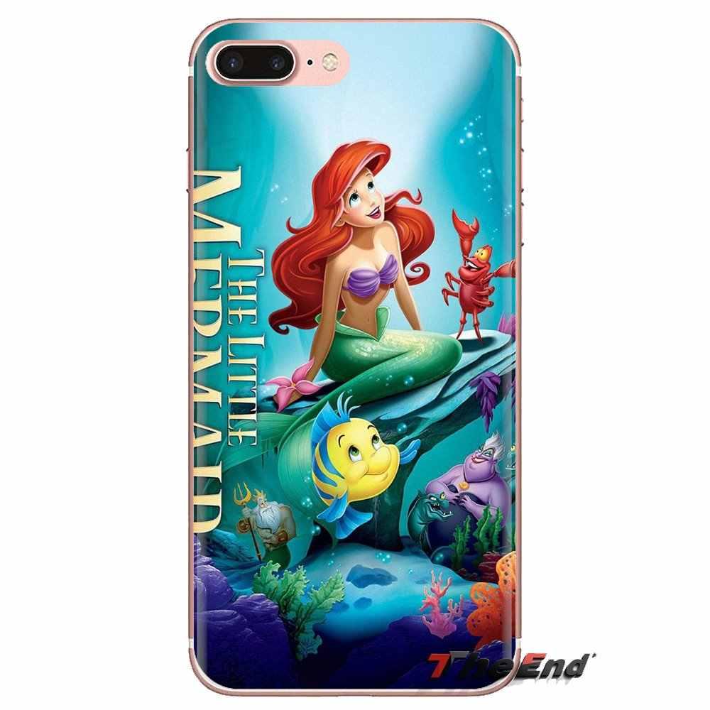 Transparan Soft Shell Cover untuk Samsung Galaxy S3 S4 S5 Mini S6 S7 Edge S8 S9 S10 Plus Note 3 4 5 8 9 Ariel Putri Duyung Kecil