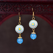 Chinese Ethnic Drop Earrings For Women Handmade Natural Stone Cloisonne Jewelry Statement Dangle Earrings Bead Accessories chinese ethnic dangle earrings for women handmade drop earrings vintage jewelry bead accessories wedding party gift