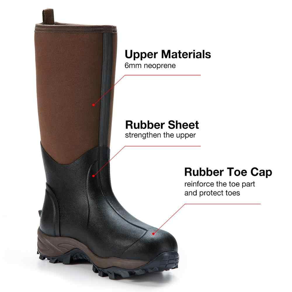 TideWe kahverengi çok amaçlı Muck Boots su geçirmez dayanıklı 6mm neopren yağmur avcılık çizme Arctic açık çizme erkekler için & Kadınlar