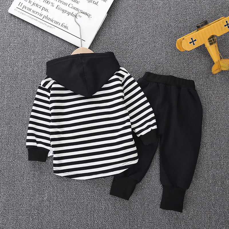 Winter Long Sleeves T-shirt With Hats Child Pants 2pcs Striped Toddler Boy Clothes Children's Sets 3