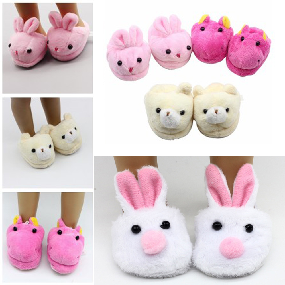 18 Inch gril Doll Toy Accessory Cute Animal Plush Slippers 43cm baby Girl Doll Plush Animal Slippers rabbit bear shoes toys