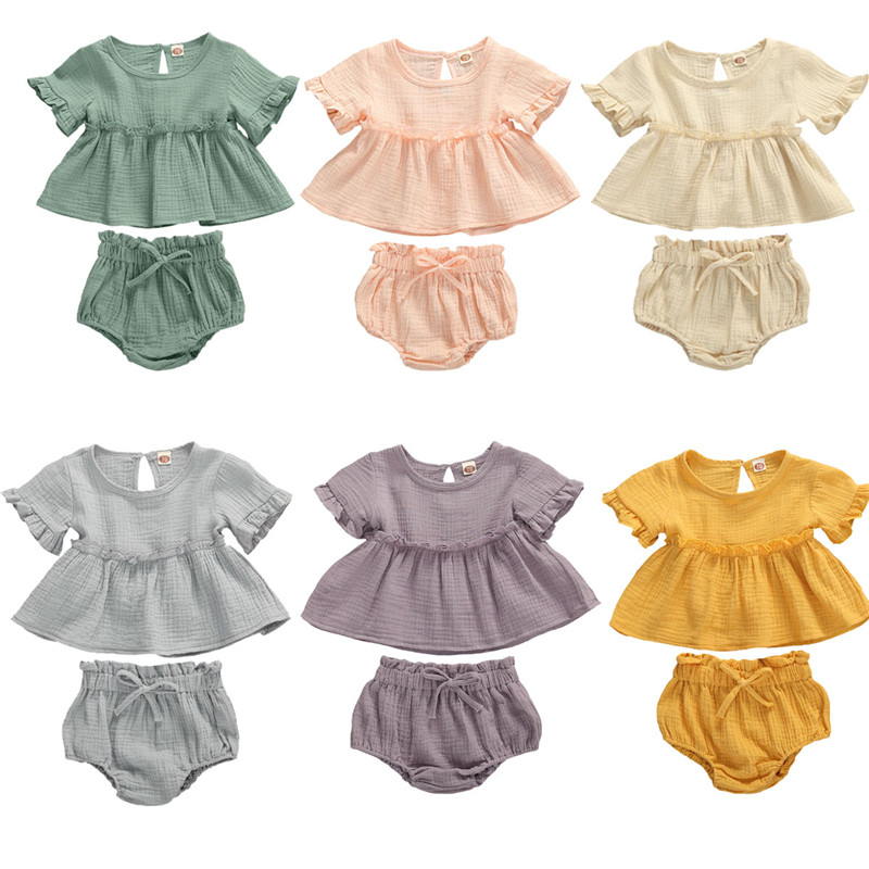 6 Colors Summr Toddler Newborn Baby Girls Cotton Linen Clothes Ruffles Short Sleeve T Shirts+Shorts 2pcs Infant Clothing Outfits