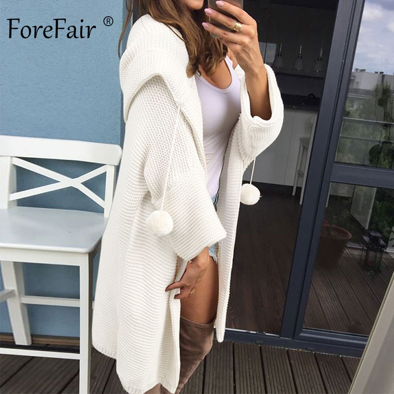 Forefair Long Knitted Winter Cardigan With Hood Casual Lazy Plus Size Solid Red Pink White Hooded Knit Oversize Sweaters Women