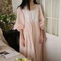 Хлопковая ночная рубашка, ночная рубашка, Женская винтажная ночная рубашка принцессы, лето-осень