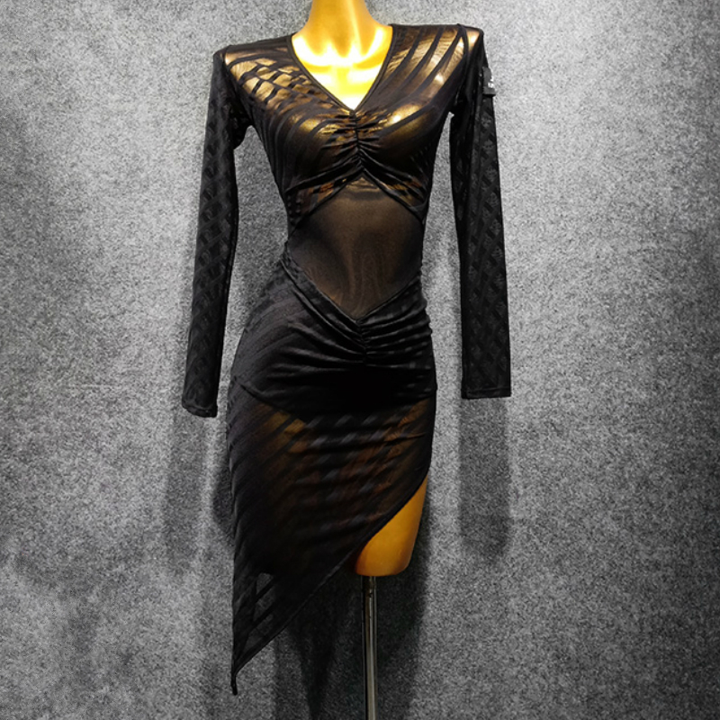 Black Mesh Gauze Latin Dance Dress Female Adult Long-sleeved Dress Latin Practice Clothes Party Costume Salsa Dance Dress