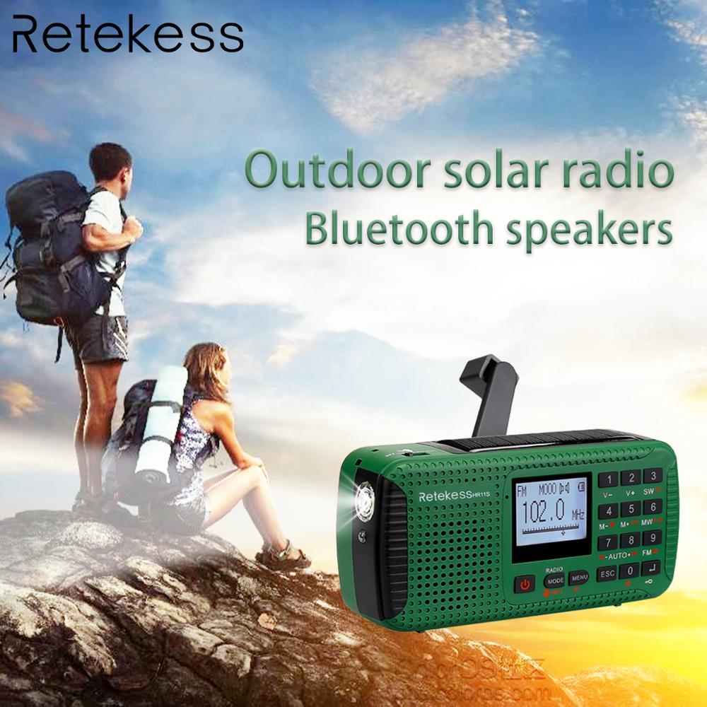 Reticência HR11S Rádio De Emergência Manivela Solar Rádio FM/MW/SW Bluetooth MP3 Player Gravador Digital Portátil