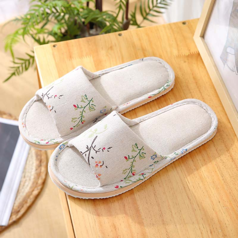 Spring Autumn Women Home Slippers Indoor Floor Soft Couple Linen Slipper Lightweight Unisex Bedroom Shoes Ladies Flax Flip Flops 4
