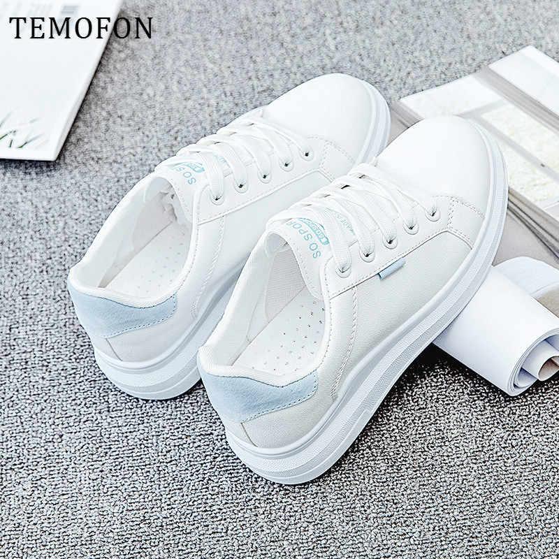 TEMOFON Mới Của Phụ Nữ Giày 2020 Trắng Giày Cho Nữ Giày Xuân Hạ Thu Đế Giày Chaussure Femme HVT1246