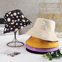 SLECKTON Fold Bucket Hat for Women Double-sided Daisy Embroidery Fisherman Sun Girls Simple Beach Hats Outdoor Cap
