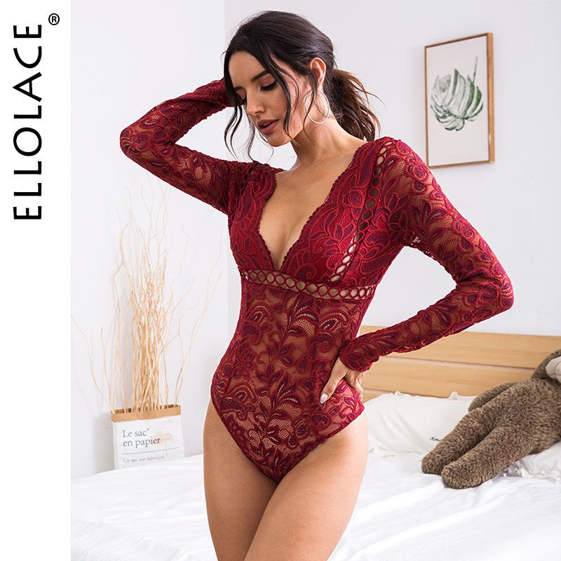 Ellolace Long Sleeve Lace Bodysuit Women Deep-V Backless Body Mesh See Through Rompers Bodycon Overalls Feminino Sexy Bodys