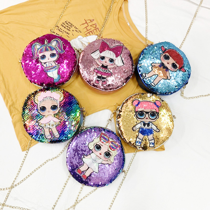 2019 LOL Surprise Dolls Trend Backpack With Sequins Messenger Women Backpacks Shoulder Flash Lights Casual Small Wallet 2S29
