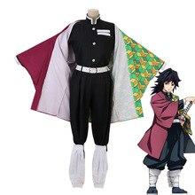 Аниме Demon Slayer Kimetsu No Yaiba Tomioka Giyuu Косплей Костюм мужской кимоно униформа наряд Хэллоуин вечерние наборы парики CS008