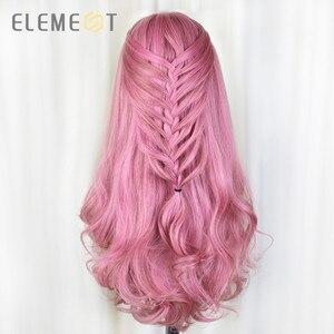 Image 1 - Element długa syntetyczna różowa peruka naturalne fale peruki dla białych/czarnych kobiet środkowa część żaroodporna peruka do Cosplay 5 kolorów
