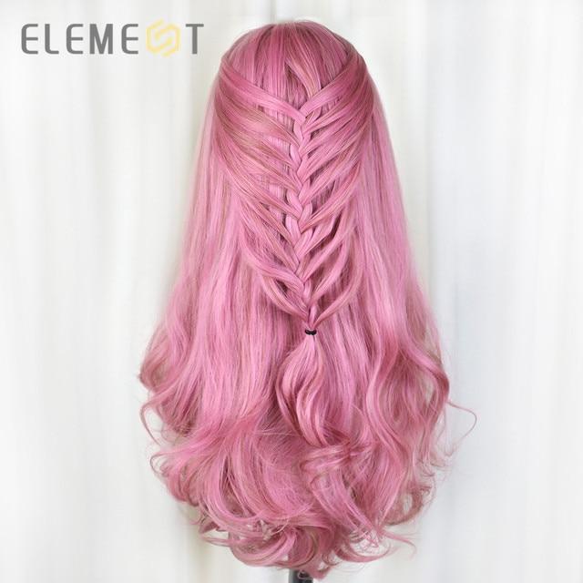 Element długa syntetyczna różowa peruka naturalne fale peruki dla białych/czarnych kobiet środkowa część żaroodporna peruka do Cosplay 5 kolorów
