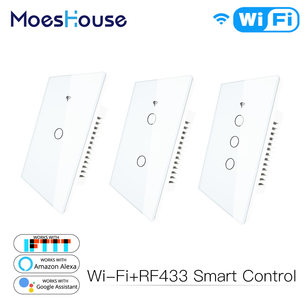 WiFi Smart Wall Light Switch Glass Panel RF433&Wi-Fi Smart Life Tuya APP Remote Control Works With Alexa Google Home 1/2/3 Gang