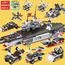 886Pcs Military Aircraft Carrier NAVY Warship Building Blocks WAR ARMY LegoINGs Technic Bricks Toys for Children Christmas Gifts wenhsin military assembling carrier 1 350 the second world war warship franklin number aircraft carrier 05604 ship