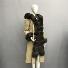 LISIDUN 2019 Real Fur Parka Women Winter Jacket Nature Sliver Fox Hooded Coats Rabbit Lining Female Coat