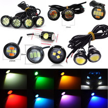 12V 18MM 23MM LED eagle eye car fog DRL daytime reverse parking signal yellow blue white red waterproof daytime running lights(China)