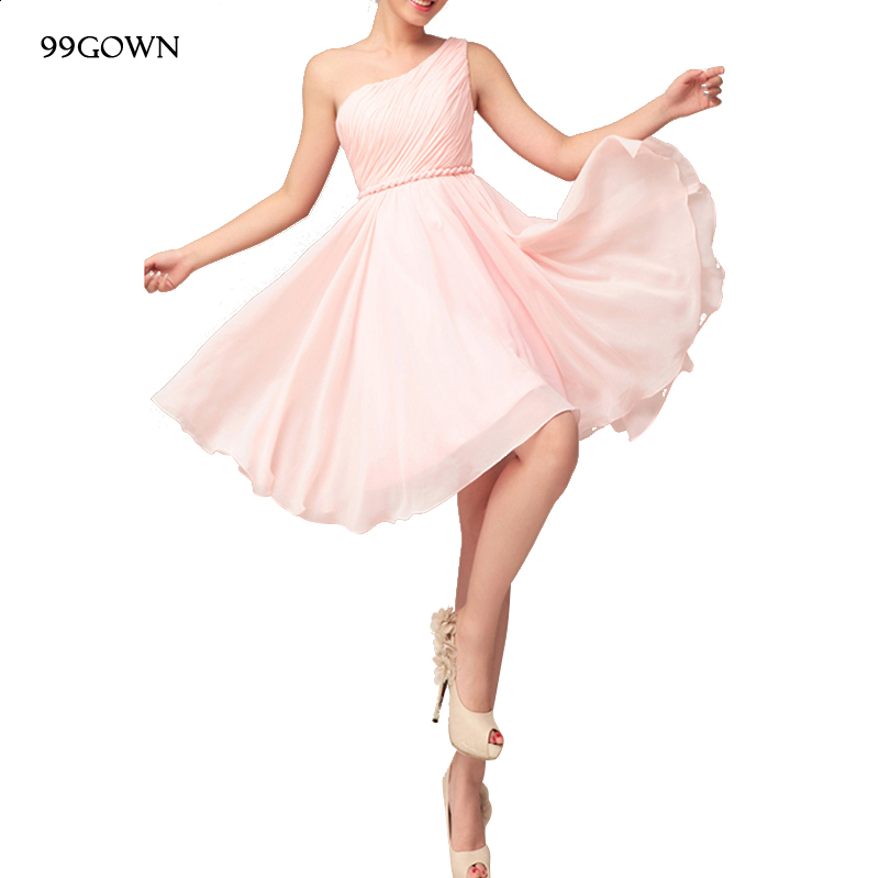 99GOWN Chiffon Girls  Wedding Guest Cheap Simple Junior Gowns 2019 Boho Short Sexy One Shoulder Pleated 2020 Bridesmaid Dress