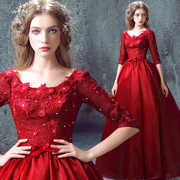 2020 dubai dress occasion half sleeve new hot red lace long Evening fashion organza prom crystal Formal Quinceanera Dresses