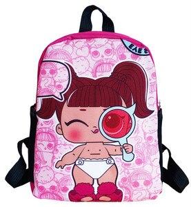 Image 3 - Lol sürpriz lol bebek erkek ve kız öğrencilerin karikatür schoolbag okul çocuğu sırt çantası boşaltma schoolbag keten sırt çantası