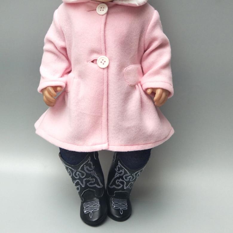 Розовое приталенное пальто для девочек, 18 дюймов, колготки 40 см, одежда для новорожденных, Одежда для куклы 18 дюймов, наряд для куклы