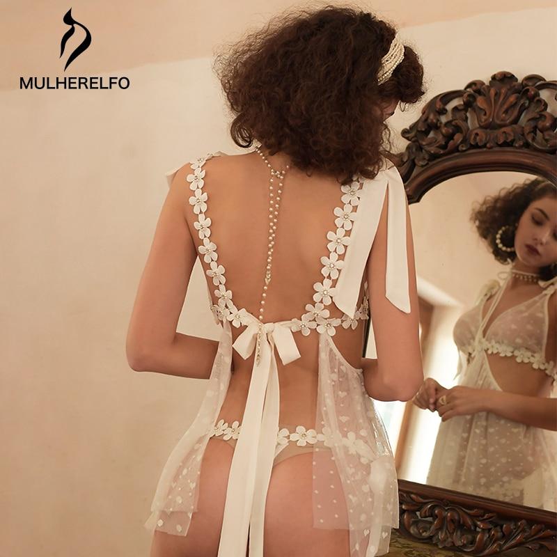 Sexy Mesh See Through Applique Women Night Dress V Neck Sleeveless Sashes Ladies Nightwear White Sexy Nightgown Women Sleepwear