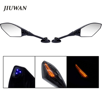 Left & Right Black Shell Motorcycle Rearview Side Mirror With LED Turn Singals For Honda CBR 1000RR 250R 600RR CBR300R CBR500R image