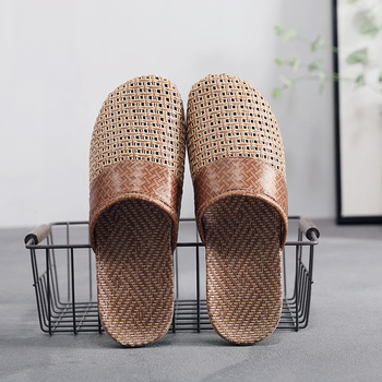 Suihyung New Men Summer Shoes Slippers Flax Weaving Breathable Non-slip Male Sandals Beach Flip Flops Man Indoor Slippers Slides цена 2017