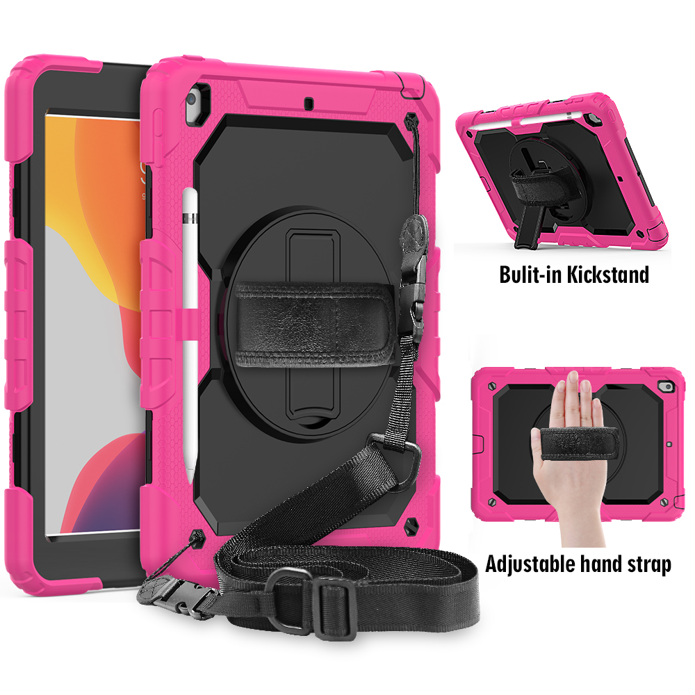 Stand Kids A2232 A2198 A2200 iPad 7th straps For degree Silicon PC cover Gen case rotation 8th funda 10.2 2020 360 Shockproof