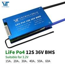 Placa de protección de energía de 12S, 36V, batería de litio, 3,2 V, protección de temperatura, función de ecualización, protección contra sobrecorriente, PCB BMS