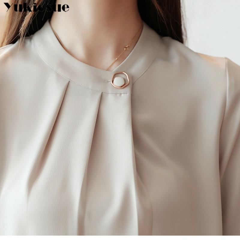 fashion womens tops and blouses stand collar office blouse women chiffon blouse shirt female long sleeve women shirts blusas 6