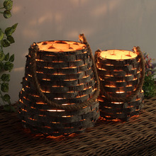 Hanging Retro Wooden Candlestick Hollow Creative Romantic Candle Holder Bedroom Vintage Home Decoration