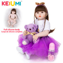 KEIUMI-muñecas de bebé de silicona para recién nacidos, juguetes realistas de niña de 57 CM, a la moda cabello largo, bebé Reborn de Boneca para niños, regalos de vacaciones de Navidad