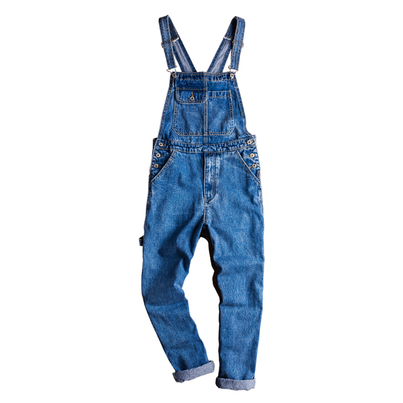 Sokotoo Men's Casual Straight Blue Denim Bib Overalls Loose Jeans Coveralls Suspenders Jumpsuits