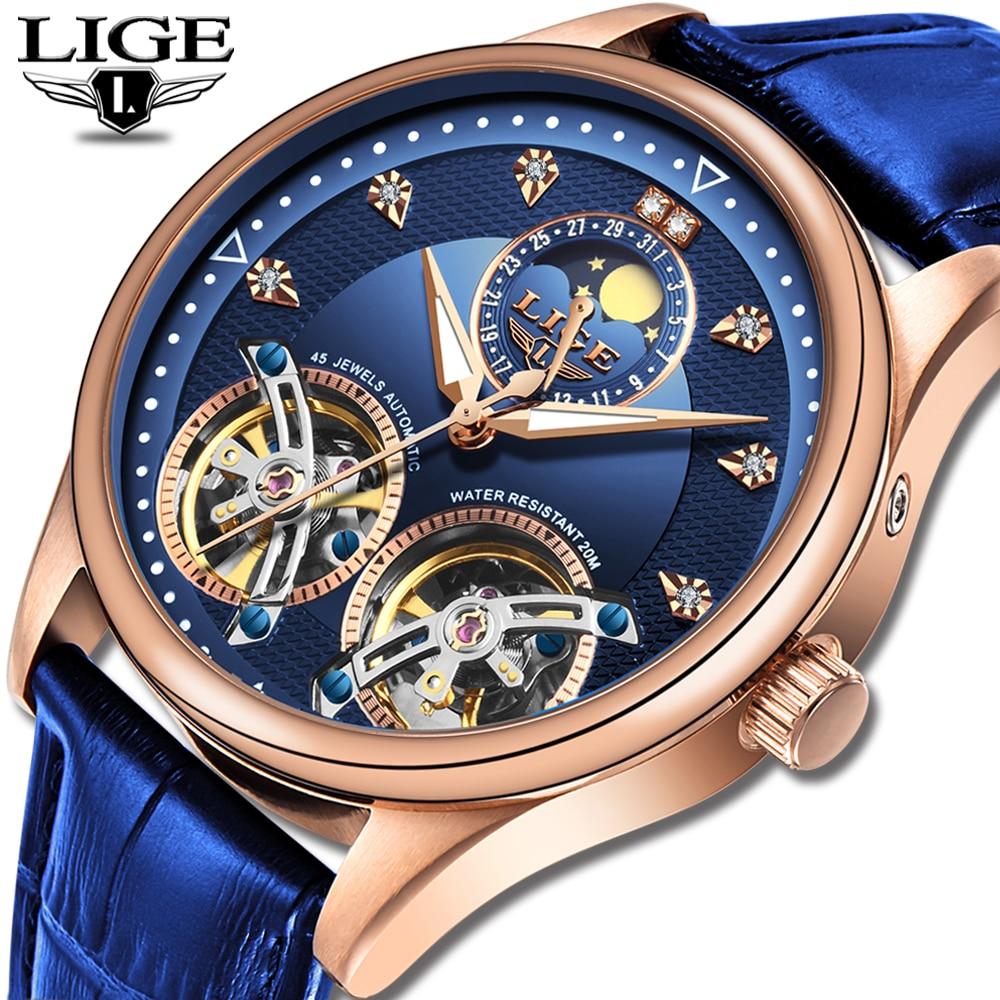 2020 LIGE New Men Watch Automatic Mechanical Watch Tourbillon High End Watch Genuine Leather Waterproof Watch Relogio Masculino