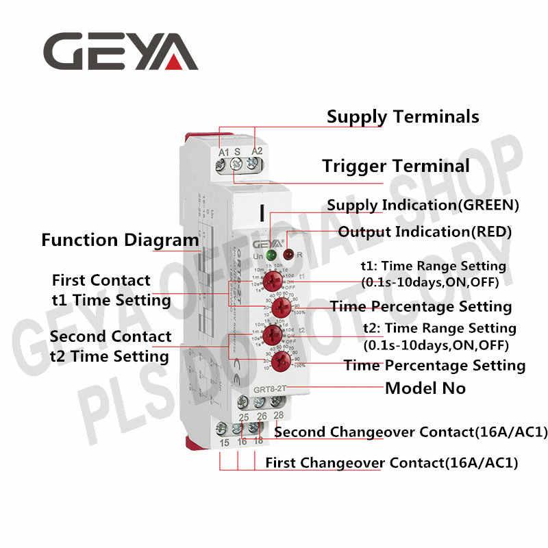 GEYA GRT8-2T Double retard sur le relais de temps 220V ca/relais cc 12V 24V réglable sur les minuteries de retard 50/60Hz