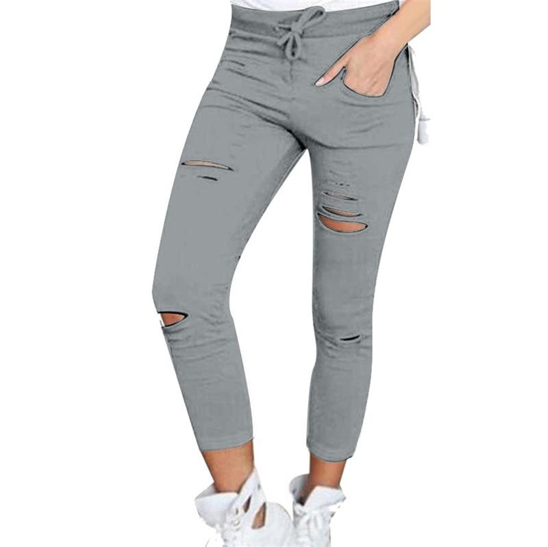 Women Fashion Cotton Hole Pencil Pants Skinny Nine Points Pants High Waist Stretch Jeans Slim Pencil Trousers Capris Hot