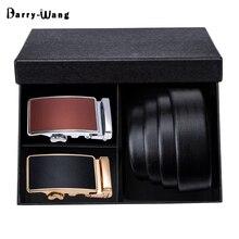 Barry.Wang New Designer 110cm 160cm Men Belt Set Within Black Gift Box Genuine Leather Luxury Strap Belt For Men Wedding PB 8999
