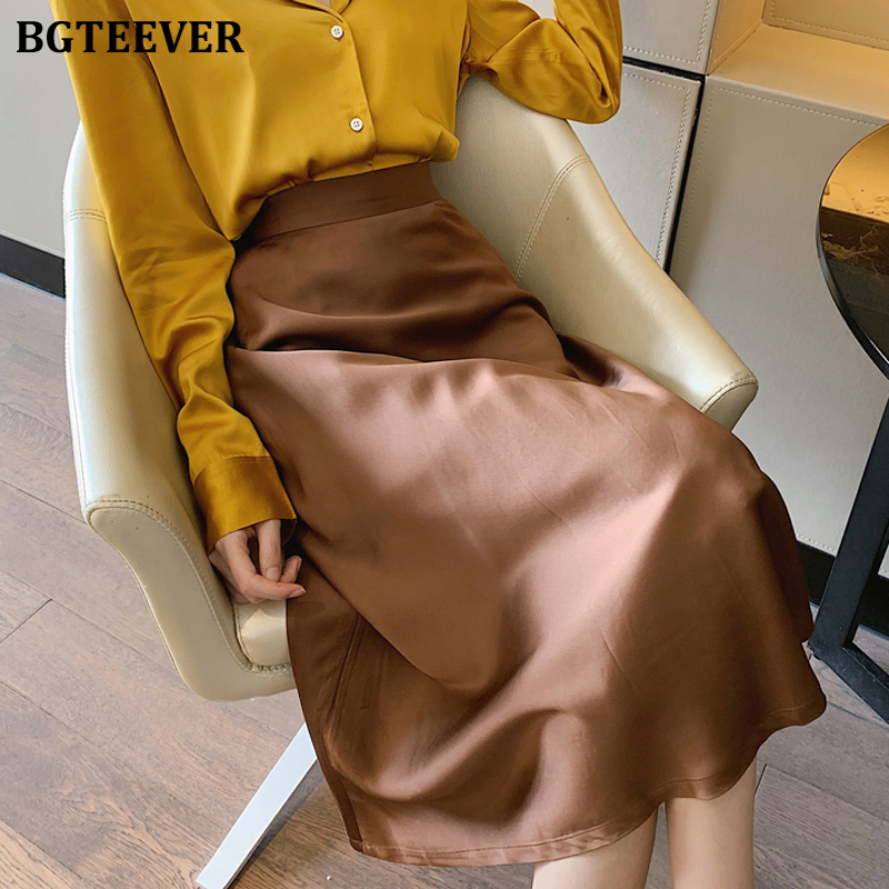 BGTEEVER Casual Soft Satin Skirts Women Office Ladies High Waist Zipper Female A-line Skirt Mid-length 2020 Spring Summer